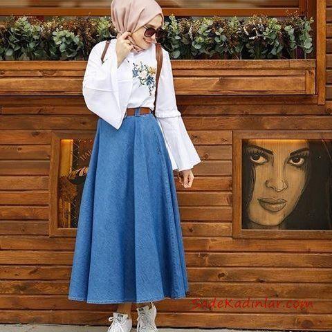 super cute 10c56 28f9d 2019 Hijab-Rock-Shirt-Kombinationen Blauer langer Mantel ...